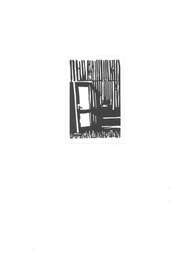Grafiek en tekeningen | lino | linosnede | vervallen schuur | oude deur | drukinkt | Benthuizen | lino cut | old barn | old wooden door | art print | Oscar Pijl | graphic art |