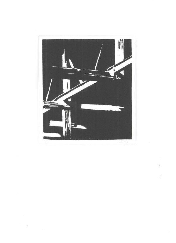 Grafiek |tekeningen | linosnede | Oscar Pijl | oude balken | dakconstructie | houten balken | oude vervallen schuur | schuren | zolder | linocut | lino cut | old barn | lijnenspel | lines | black and white | old attic | art print | lino print |