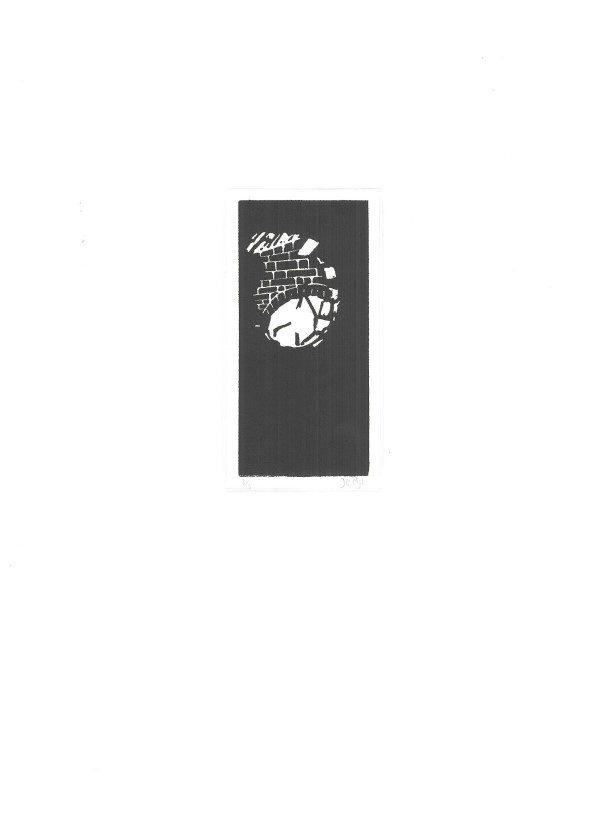 Grafiek | tekening | lino | rond raam | oude schuur | boerderij Groen | Benthuizen | linosnede | lino cut | linocut | old barn | old Dutch farm | window | graphic art |