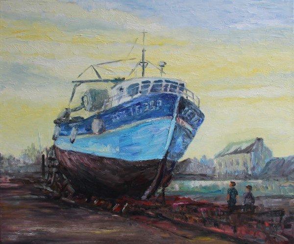 Schilderij | Schip op scheepswerf in haven Concarneau | Bretagne | Frankrijk | Oscar Pijl | France | oilpainting | peinture | port Concarneau | shipyard | French shipyard |
