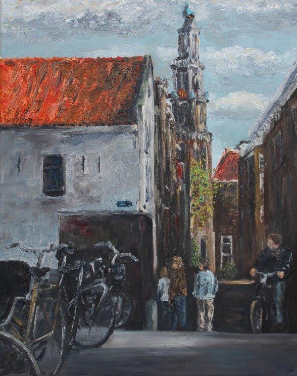 Schilderij | Amsterdam | Holland | dutch painting | Egelantiersgracht | Westertoren | jordaan | olieverf | oilpainting | Dutch canal | Amsterdam canals | dutch painter | modern impressionist | Amsterdam art |