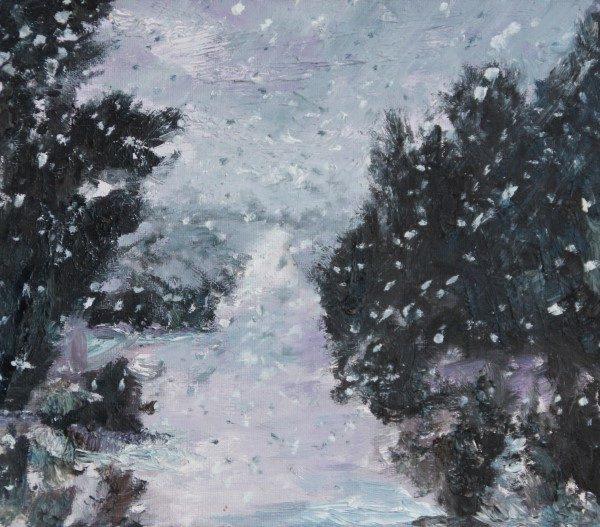 Schilderij | Bentwoud | Benthuizen | Boskoop | Waddinxveen | sneeuwval | sneeuwbui | sneeuw | bomen | bos | bospad | Pijl | impressionisme | bentwood | snow | oilpainting | snowshower |