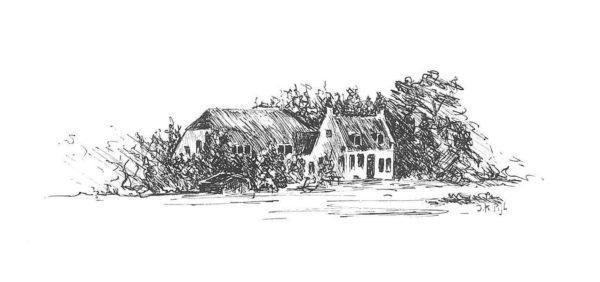 Tekening | Schilderij | pen en inkt | pentekening | Dijk | Benthuizen | molenslootpad | boerderij | Dutch farm | drawing | pen and ink |