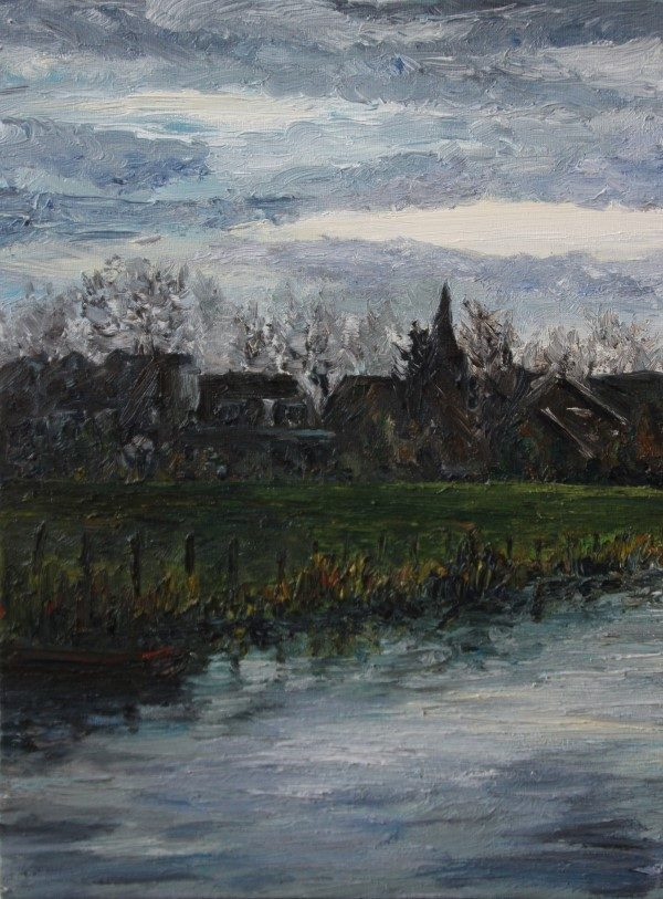 Schilderij | schilderijen | dorpsgezicht | Benthuizen | Slootweg | oscarpijl.nl | kerktoren | village view | Dutch landscape | Dutch painting | Dutch painter | vaart Benthuizen | church tower | impressionism |