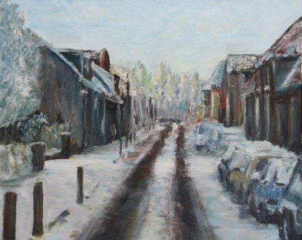 Schilderij | Dorpsstraat Benthuizen | sneeuw | straat | sneeuwlandschap | zonlicht | Oscar Pijl | winterlandschap | winterzon | Dutch painter | snow | village street |