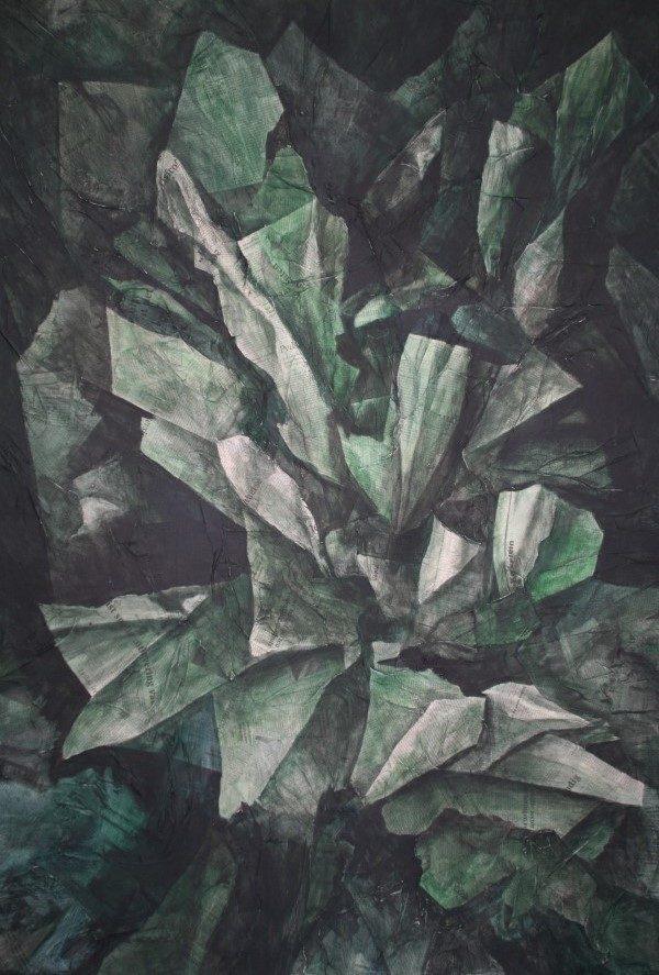 Schilderij | acrylverf | krant | krantenpapier | prop papier | Oscar Pijl | kunst | kunstwerk | paper art | newspaper | wad of paper |