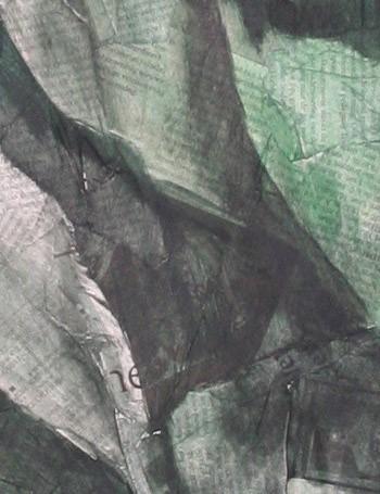 Schilderij, acrylverf, krant, krantenpapier, prop papier, Oscar Pijl, kunst, kunstwerk, detail, groen, art, paper,