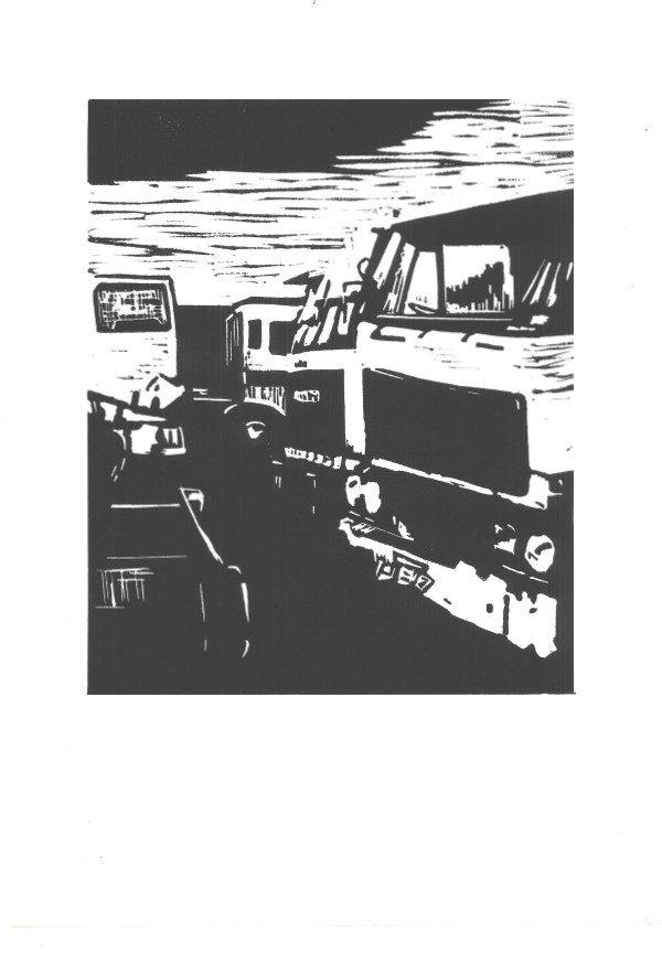 Grafiek | linoleumsnede | linocut | Oscar Pijl | vrachtwagensloperij | Daf trucks | sloperij | Benthuizen |oude vrachtwagen | truck | truck scrapyard | old truck | scrapyard | oude Daf |