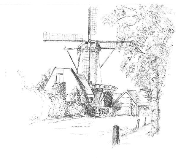 Tekeningen en grafiek | pen en inkt | pentekening | Dorpsstraat Benthuizen | molen | korenmolen | molen De Haas | negen turven | oudheidskamer Benthuizen | pen and ink | ink drawing | windmill | Dutch windmill |