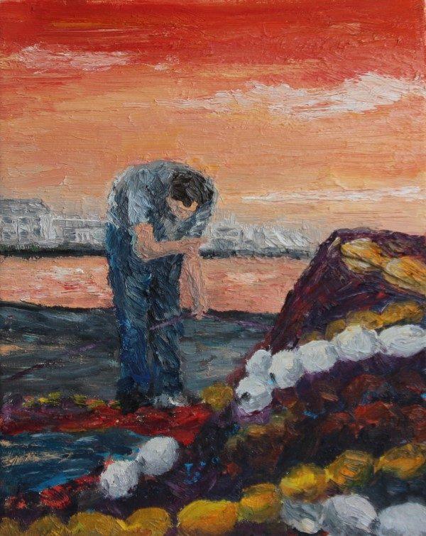 Schilderijen | haven Concarneau | Oscar Pijl | netten boeten | port Concarneau | bretagne | France | Frankrijk | mend nets | harbour |