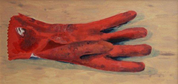 Schilderij | olieverfschilderijen | strand |handschoen | vissershandschoen | zwerfafval | rubberen handschoen | beach | plage | kunst | zee |