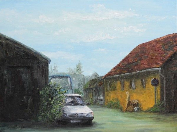Schilderijen | schuur Normandie | Peugeot 205 | oilpainting | old barn | barnfind | old truck | Normandy | French barn | peugeot car | oude schuur | France | Frankrijk |
