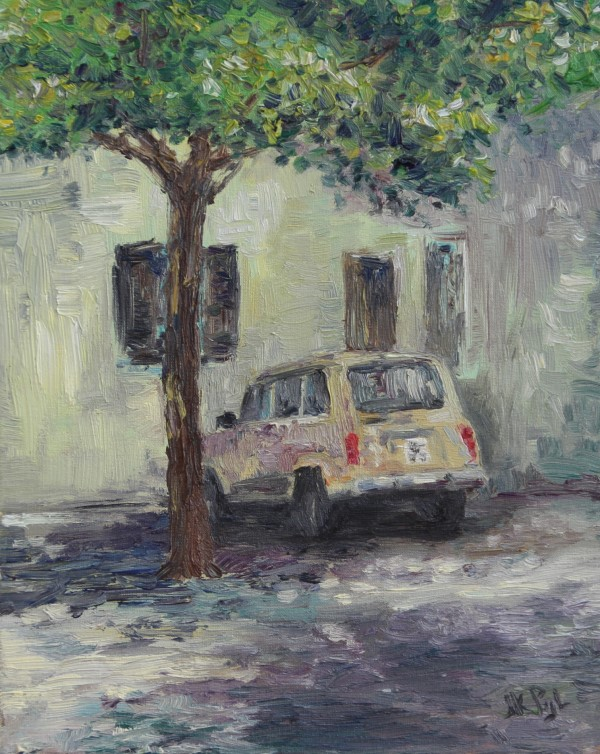 Schilderij | olieverf | Renault 4 | France | Renault art | oldtimer | youngtimer | carart | car art | automobile | Quatrelle | classic car | klassieker | Renault | Atelier Le Garage | classic car art | French square | French Renault | old renault car | autokunst | classic Renault | Renault cars | Renault oldtimer | France | French cars |