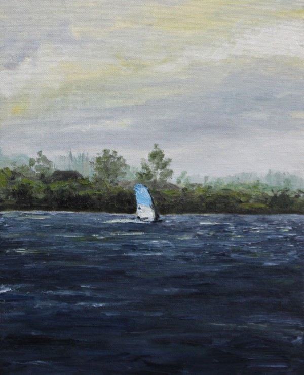 Schilderijen | schilderij | windsurfer | Noord Aa | Zoetermeer | Gaastra Sails | windsurfing | oilpainting | Dutch lake | Dutch painter | Dutch painter | watersport | Windsurfer oil paint | Dutch clouds |
