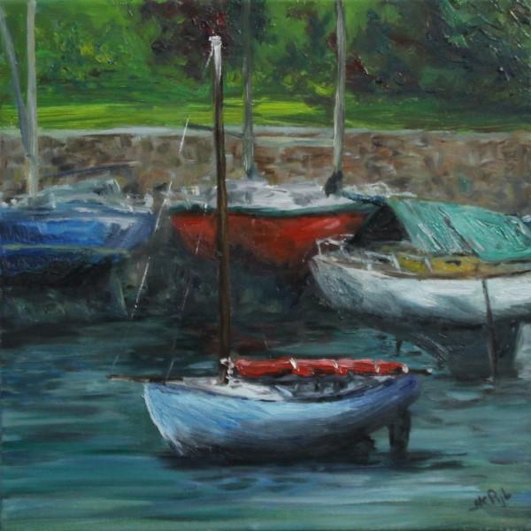 Schilderij | zeilboten | Pont-Aven | Bretagne | Frankrijk | olieverf | oscarpijl | sailboats | France | oilpainting | peinture | bateaux | peinture Pont Aven | painter Pont-Aven |