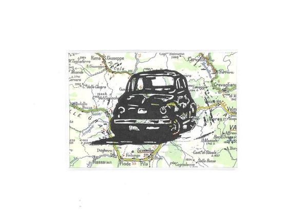 linosnede | linocut | fiat 500 nuova | Torino | Italië | Italia | cinquecento | lino | ink on paper | tekening | tekeningen | print |landkaart |