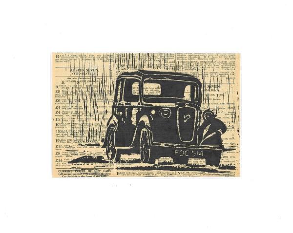 Linosnede | linocut | Austin Seven | Austin 7 | The Motor | 1938 | Austin car art | Austin kunst | England | 1934 | lino | baby austin | classic car | klassieker | oldtimer | car art | austin art | atelier Le Garage |