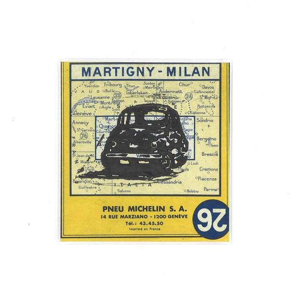 Linosnede | atelier le garage | Fiat 500 | Fiat cinquecento | car art | fiat art | fiat kunst | oldtimer | klassieker kunst | classic car | lino cut | print | Michelin wegenkaart | Michelin roadmap | carta stradale Italia | Italië | auto d'epoca | Italia |