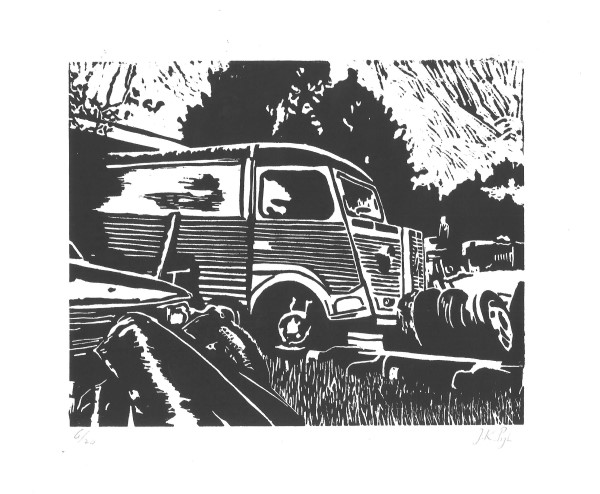 linosnede | lino cut | lino | Citroën HY | Citroën Type H | citroën art | Citroën H Van | Citroen ribbelbus | car art | oldtimer bus | foodtruck | automobile classique | klassieker kunst | classic car art | atelier le garage | citrofiel | voiture anciennes | double chevron | linocut | French Citroën | old French car | barn find | barn find Citroën | France voiture | French oldtimer | scrapyard | junkyard |