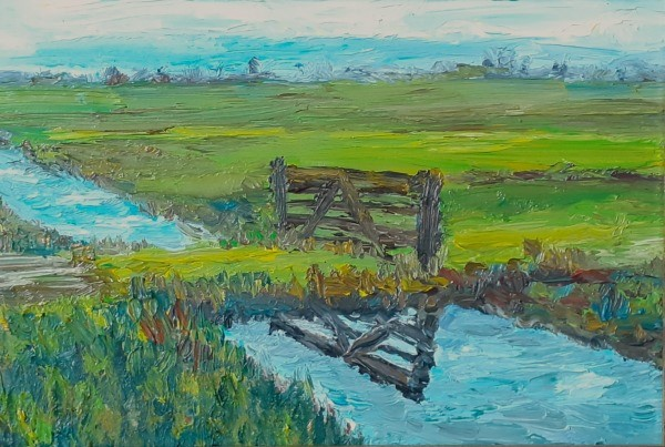 Schilderij | olieverf | polderlandschap | weiland | Gelderswoude | Groene Hart | polder | Dutch polder | Dutch landscape | Dutch painter | Hollands landschap | polder Netherlands | oilpainting | polder landscape | weide | Zuid Holland | Zuid Hollands landschap |