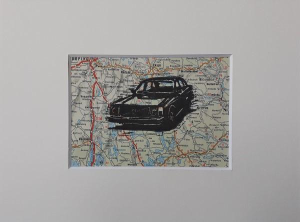 linosnede | linocut | Volvo 244 | car art | Volvo 200-serie | volvo art | volvo kunst |klassieker kunst | oldtimer | Volvo 240 | Volvo 245 | Volvo 260 | wegenkaart Zweden | Swedish road map | Volvo car | Sweden | classic car | classic car art | Volvo cars |