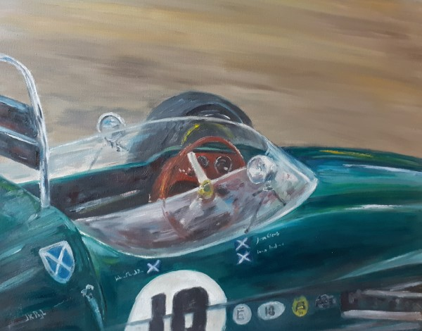 Paintings | oilpainting | old race car | Lotus 18 | vintage Lotus | Lotus formula 1 | Lotus Grand prix | Historic Grand Prix | circuit Zandvoort | Dutch Grand Prix | Dutch GP | classic team Lotus | Jim Clark | Innes Ireland | John Chisholm | classic formula car | Formula 1 | Formula one | F1 | historic F1 | Lotus racing | classic car art | historic car art | automobile art | garage art | car illustration | painting race car | Oscar Pijl | atelier le garage | car art | cockpit race car |