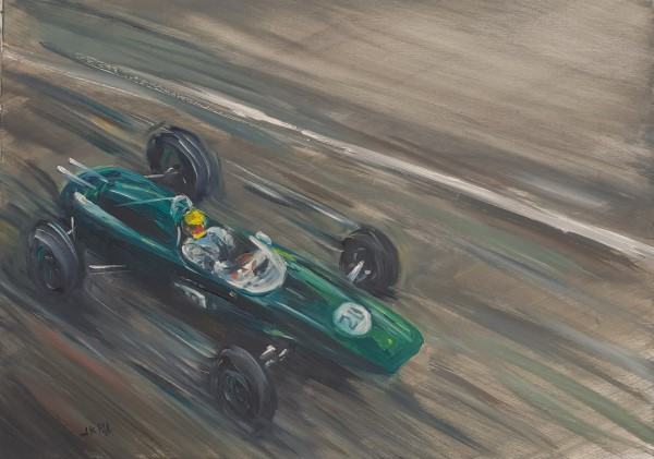 Paintings | oilpainting | Lotus 24 | classic team Lotus | F1 Lotus | Formula Lotus | Lotus racing car | vintage racing car | old racing cars | Jack Brabham | Lotus racing team | classic car paintigs | pitlane | Historic formula one | formula 1 | historic grand prix | car art | historic grand prix | british racing green | atelier le garage | Oscar Pijl | Dutch grand prix | grand prix Zandvoort | classic car art |
