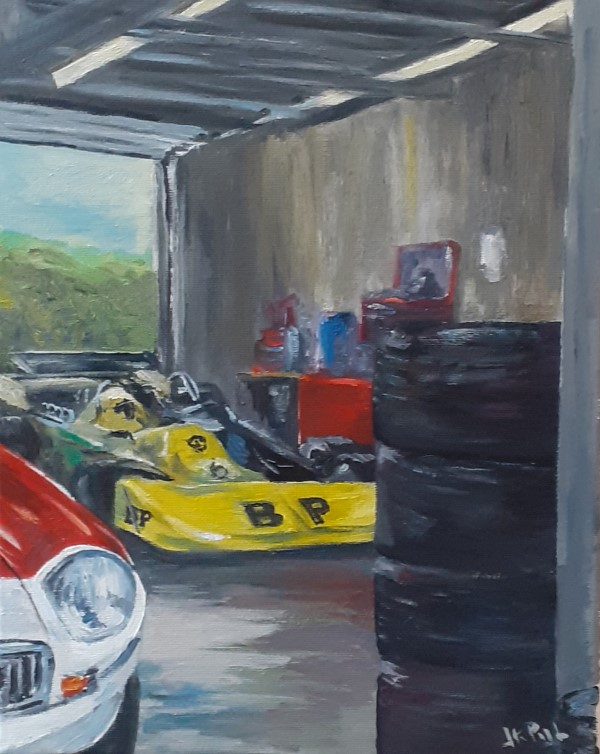 Oilpainting | paintings | pitbox | March 742 | formula 2 | historic F2 | circuit Zandvoort | Dutch grand prix | historic car art | atelier le garage | old racing car | formula racing car | BP racing | Martin Stretton | Oscar Pijl | Historic Grand Prix |
